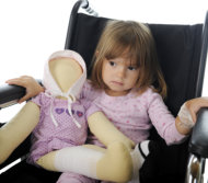 litte girl sitting in wheelchair