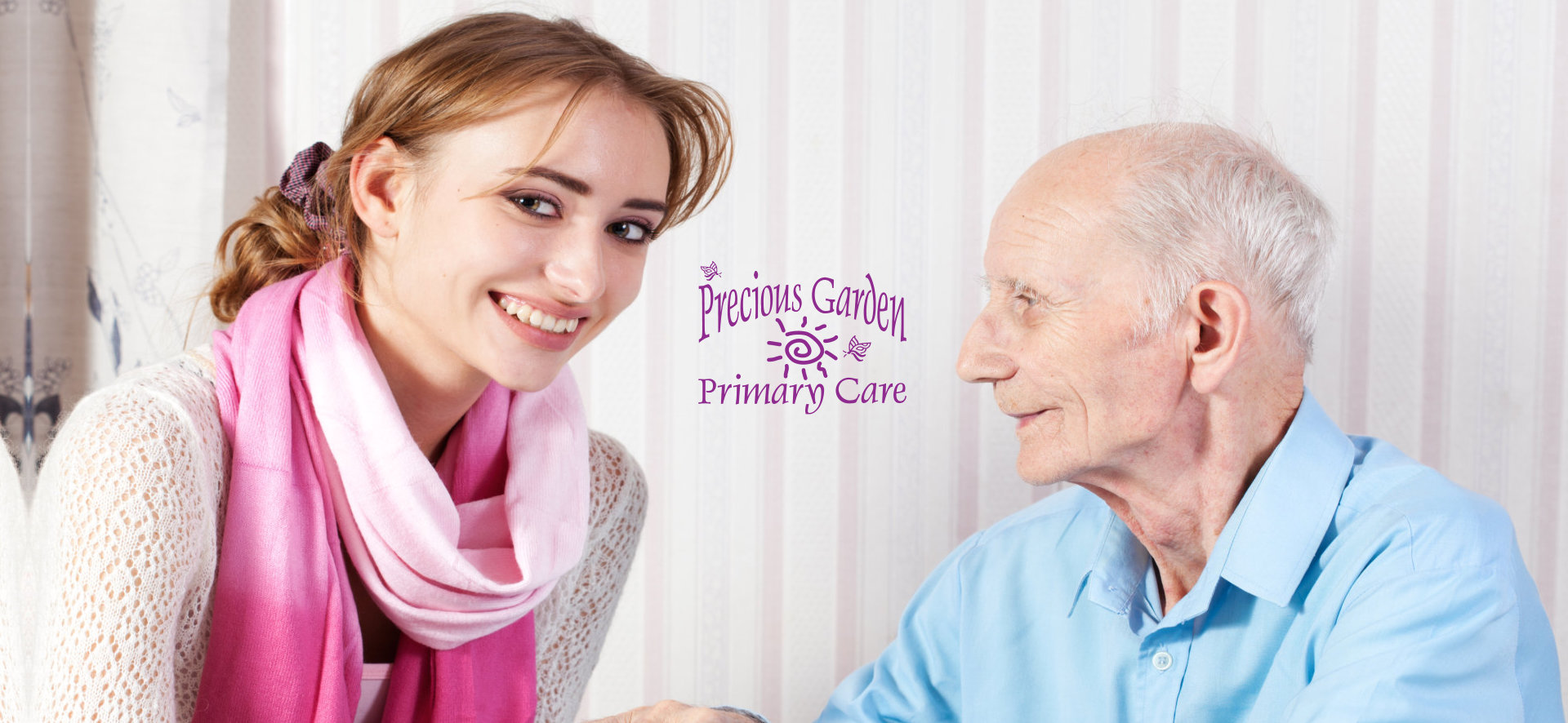caretaker and patient smiling